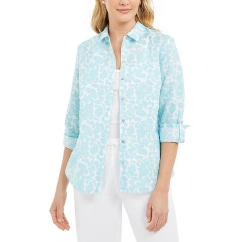 Charter Club Women's Floral-Print Linen-Blend Shirt Navy Size Medium