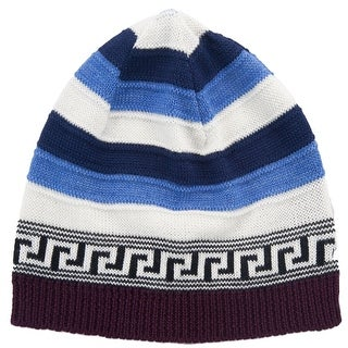 Versace VHB0386 002 Blue/White Knitted Wool Blend Beanie Hat