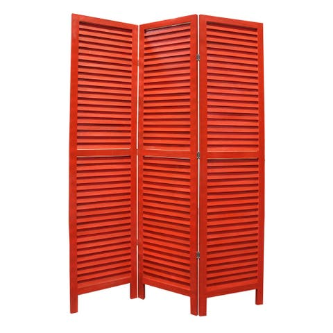 3 Panel Foldable Wooden Shutter Screen with Straight Legs, Red