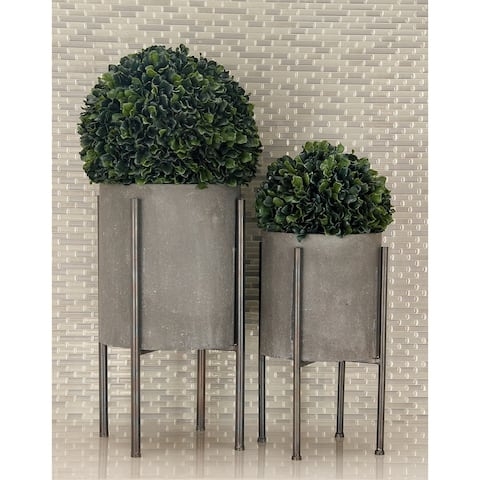 Set of 2 Industrial Cylindrical Planters by Studio 350