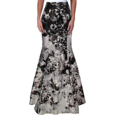 Aqua Womens Maxi Skirt Satin Printed - 6