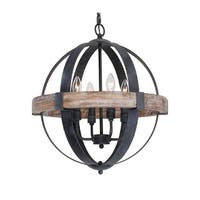 Distressed Weathered Oak 4-Light Wood Orb Chandelier