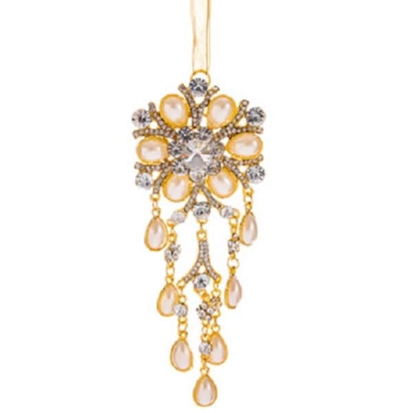 "5.5"" Glamour Time Dazzling Floral Gold Pearl and Rhinestone Decorative Christmas Drop Ornament"