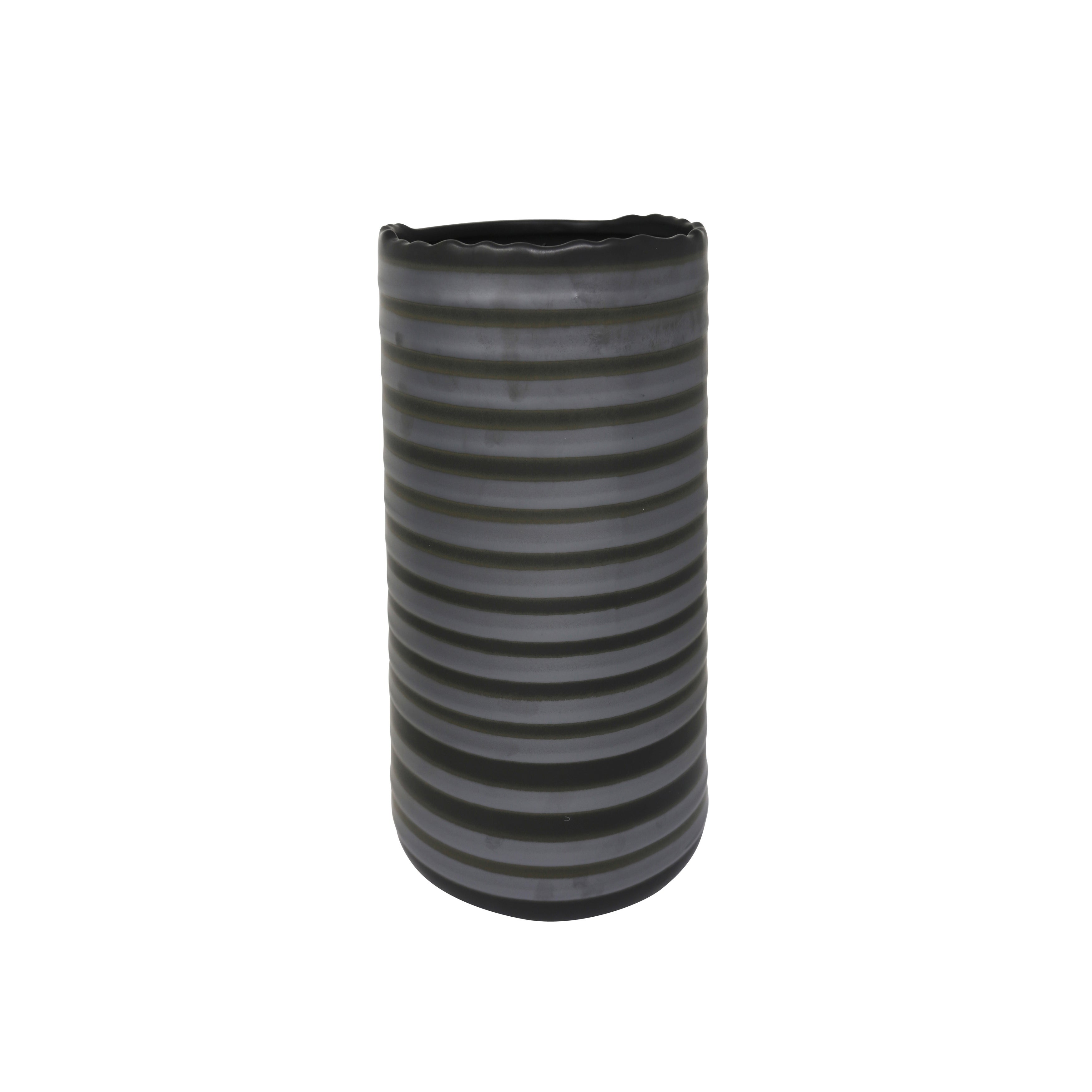 Ceramic Table Vase with Asymmetrical Rim and Ribbed Pattern Design, Small, Black and Gray