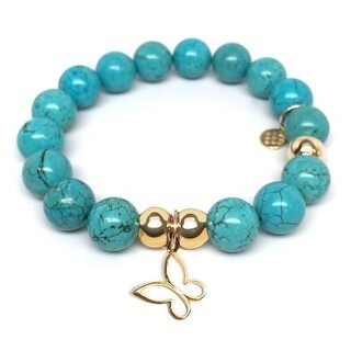 Julieta Jewelry Butterfly Charm Turquoise Magnesite Bracelet