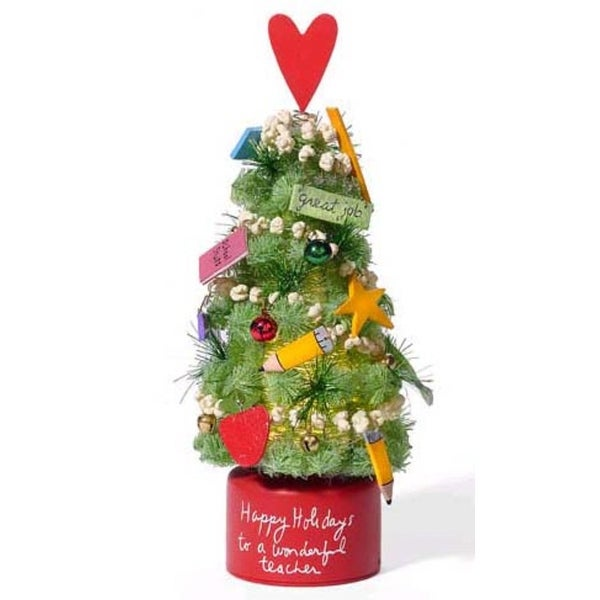 """Department 56 Lighted 11.5"""" Holiday Teacher Christmas Tree - green"""