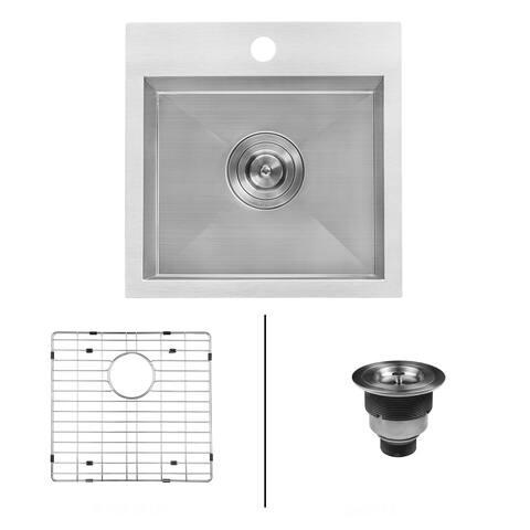 "Ruvati RVH8115 Tirana 15"" Drop In Single Basin 16 Gauge Stainless Steel Bar Sink with Basin Rack and Basket Strainer -"