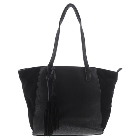 Moda Luxe Womens Casey Tote Handbag Faux Leather Suede Trim - Large