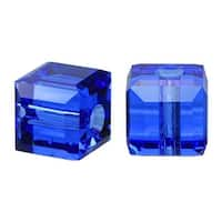 Swarovski Elements Crystal, 5601 Cube Beads 4mm, 10 Pieces, Sapphire Blue
