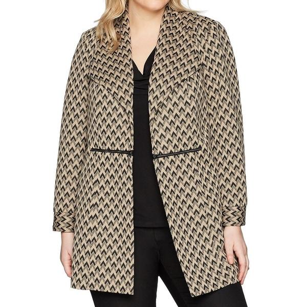 Kasper Brown Black Womens Size 24W Plus Jacquard Duster Jacket