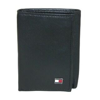 Tommy Hilfiger Men's Leather Oxford Slim Trifold Wallet - Black - One size