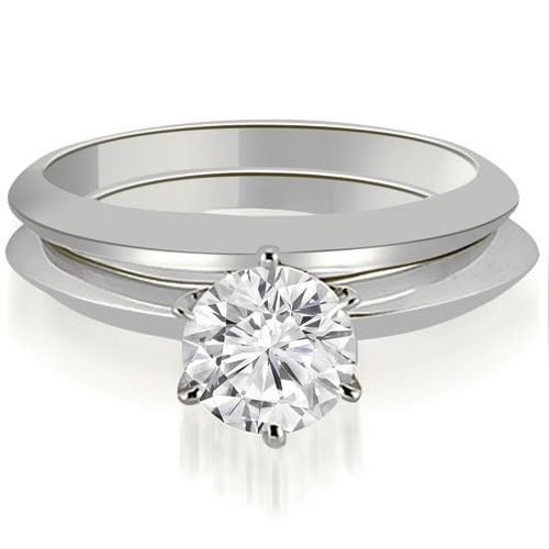 0.50 cttw. 14K White Gold Knife Edge Round Cut Solitaire Bridal Set