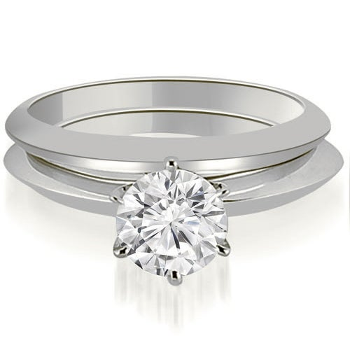 1.00 cttw. 14K White Gold Knife Edge Round Cut Solitaire Bridal Set