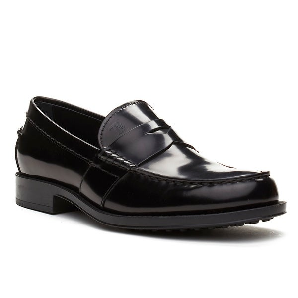 Tod's Men's Leather Loafer Shoes Black