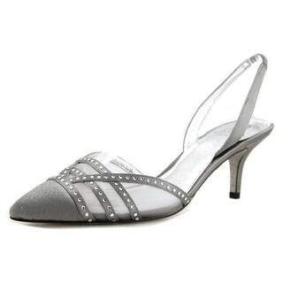 Adrianna Papell Hestia Women Pointed Toe Canvas Black Slingback Heel