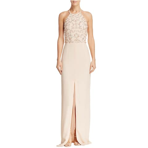 Aidan Mattox Womens Beaded Halter-Neck Column Gown 2 Blush
