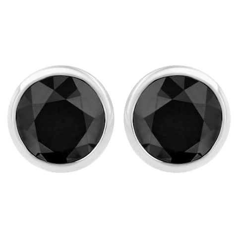 .925 Sterling Silver Black Diamond Classic Solitaire Bezel Screw-Back Earrings - Choice of carat wt (Color-Enhanced, I2-I3)