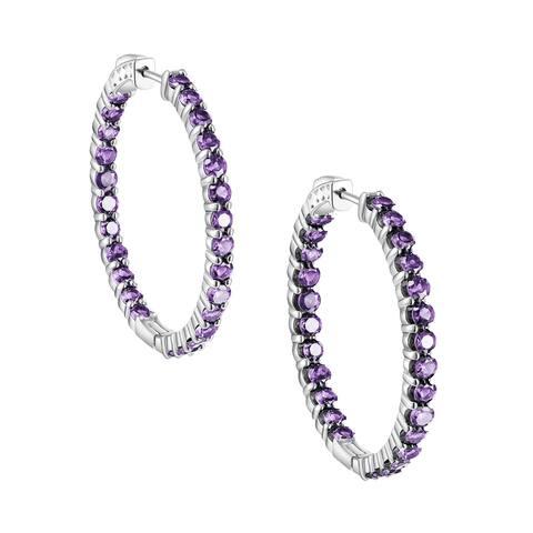 Inside-Out Round Cut Gemstone Hoop Earrings, Sterling Silver