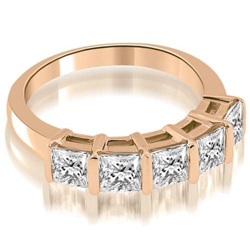 0.85 cttw. 14K Rose Gold Bar Set Princess Cut Diamond Wedding Band
