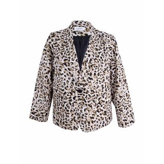 Calvin Klein Women's Petite Leopard-Print Blazer - khaki multi