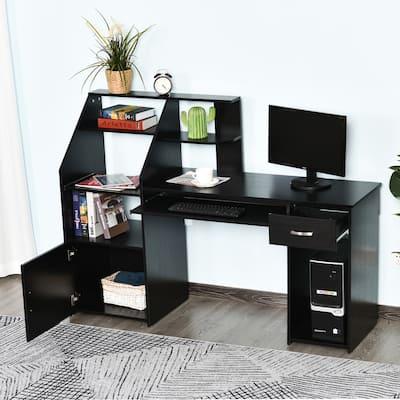 HOMCOM Computer Table with Sliding Keyboard, Shelves, Drawer Home Office Gaming Desk