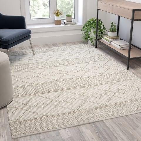 Triple Blend Handwoven Geometric Area Rug