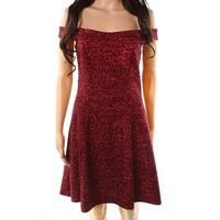 Betsy & Adam Burgundy Red Womens Size 6 Glitter Sheath Dress