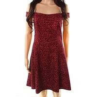 Betsy & Adam Red Womens Size 12 Off-Shoulder Glitter Sheath Dress