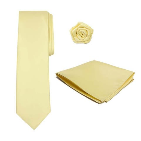Tie Hanky Open Rose Lapel Flower 3 pc Set