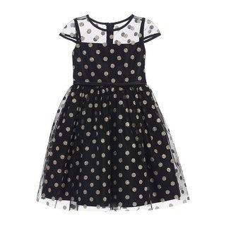Sweet Kids Girls Black Gold Polka Dotted Overlay Occasion Dress 8