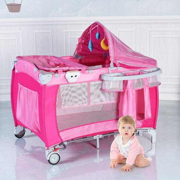Costway Foldable Baby Crib Playpen Travel Infant Bassinet Bed Mosquito Net Music w Bag - Pink