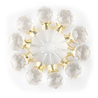 """Diamond Crystal Glass Door Furniture Drawer Knobs PullHandle Cabinet 1.18"""" Gold"""