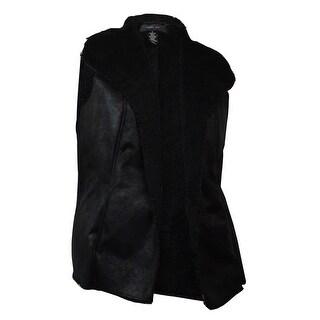 Style & Co. Women's Sleeveless Faux Sherpa Vest - Deep Black