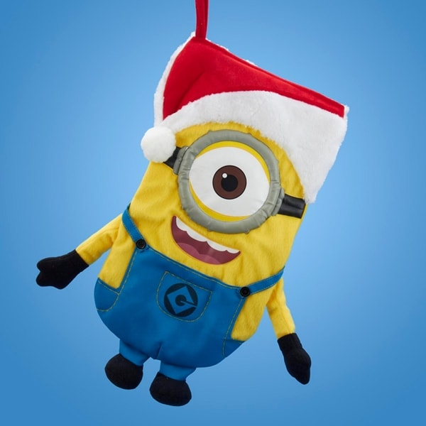 """17"""" Despicable Me Minion Wearing A Santa Hat Christmas Stocking - YELLOW"""