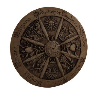 Wheel Of The Year Seasonal Cycle Intricately Carved Wood Look Plaque