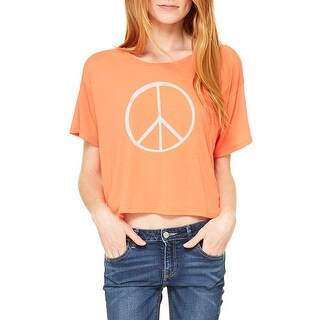 Peace Symbol 70's Women's Coral Flowy Boxy Tee