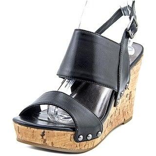 Material Girl Mmona Women  Open Toe Synthetic Black Wedge Heel