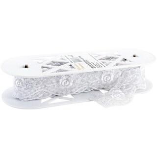 "Metallic Embroidered Galloon Bridal Organza Trim 2-1/4""X10yd-White/Silver"