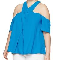 Rachel Roy Blue Women's Size 14W Plus Cold Shoulder Pleated Blouse