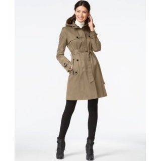 DKNY Hooded Belted Trench Coat Sand Extra Large