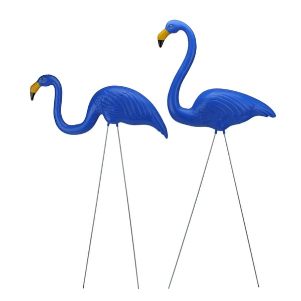 """Set of 2 Blue Tropical Flamingo Outdoor Lawn Stakes 30"""" - N/A"""