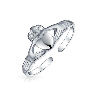 Bff Celtic Claddagh Heart Midi Toe Ring Band For Teen For Women 925 Silver Sterling Adjustable
