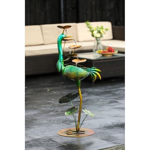 Metal Green Crane Outdoor Fountain