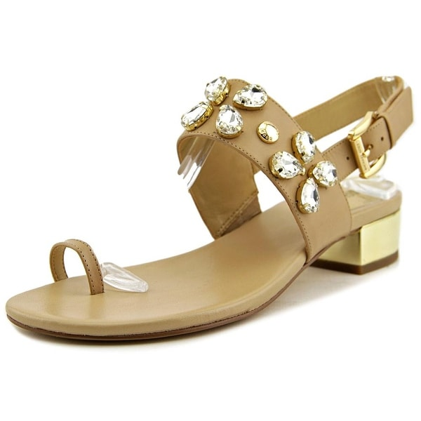 Michael Michael Kors Dory Flat Sandal Women Open Toe Leather Tan Thong Sandal
