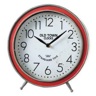Set of 2 Red and White Old Town Decorative Round Analog Desk Clock 10""