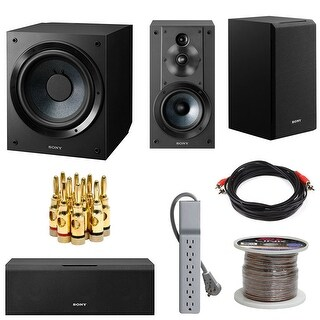 "Sony SACS9 10"" Active Subwoofer, 3-Way Speaker System & Center Channel Speaker - Black"