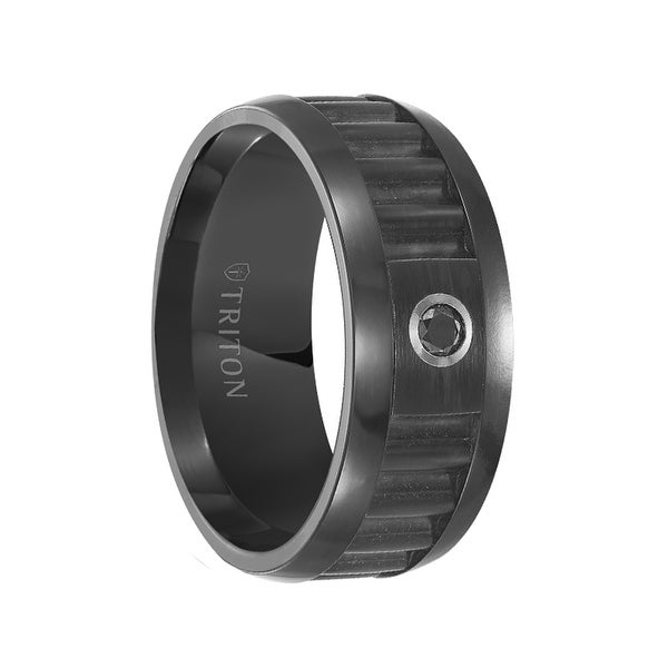 SLOAN Black Tungsten Wedding Band Corrugated Textured Center with Single Black Diamond Setting by Triton Rings - 9 mm