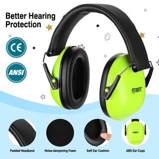 Baby Ear Muffs, NRR26, SNR29 Professional Noise Reduction Adjustable Head Band Ear Defenders for Babies and Kids,Green