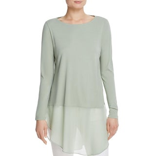 Eileen Fisher Womens Petites Tunic Top Silk Bateau Neck - pp