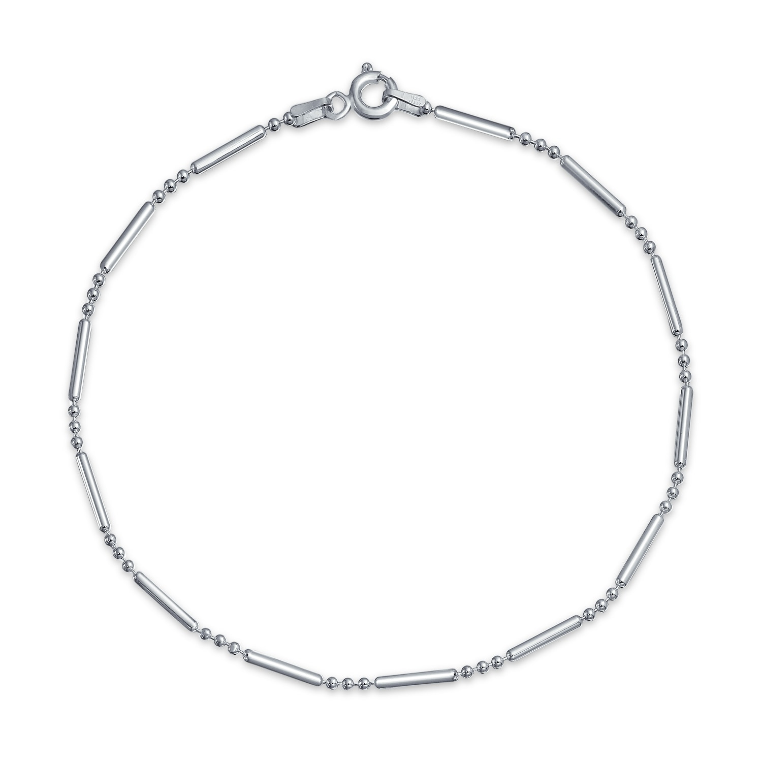 Simple Twisted Box Chain Anklet Charm Ankle Bracelet 925 Sterling Silver 9 Inch